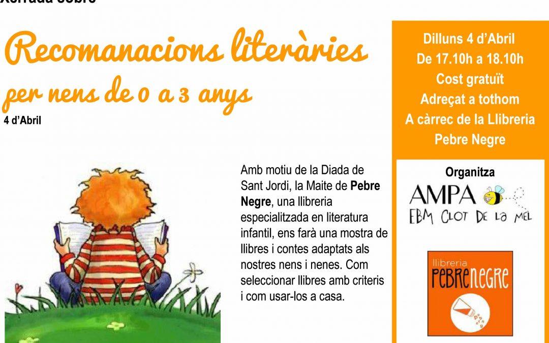 [DL 4/4] Recomanacions de llibres per a nens i nenes de 0 a 3 anys, a EBM Clot de la Mel