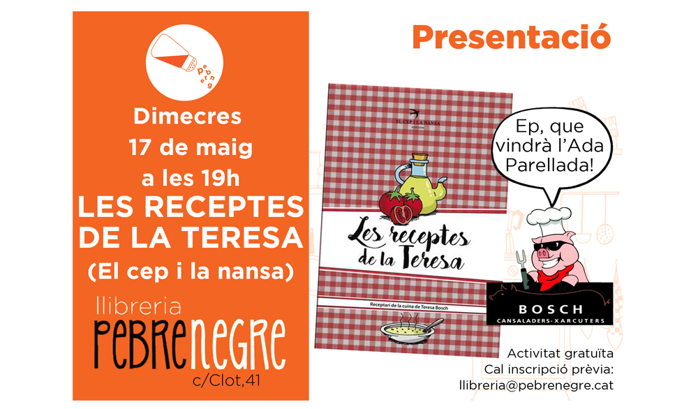 [DC 17/5, 19h]Presentació de Les receptes de la Teresa